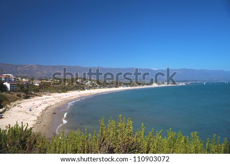 West, East and Ledbetter beaches in Santa Barbara, California. Panoramic view. - stock photo