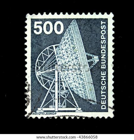 WEST GERMANY - CIRCA 1988: A stamp printed in West Germany shows image of a radio telescope, circa 1988