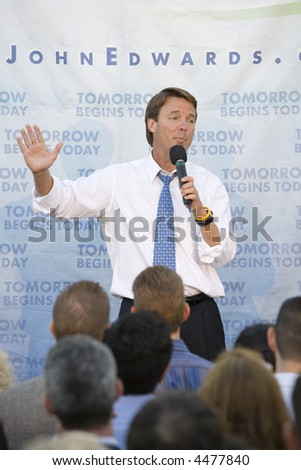 WEST HOLLYWOOD, CA - AUGUST 9:  Presidential Candidate, John Edwards speaking at a Small Change for Big Change fund raising event in West Hollywood, CA