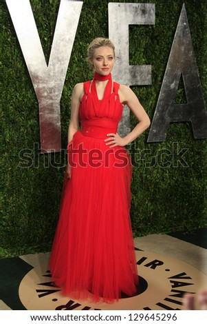 WEST HOLLYWOOD, CA - FEB 24: Amanda Seyfried at the Vanity Fair Oscar Party at Sunset Tower on February 24, 2013 in West Hollywood, California