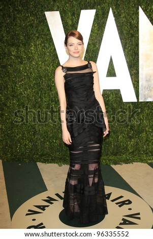 WEST HOLLYWOOD, CA - FEB 26: Emma Stone at the Vanity Fair Oscar Party at Sunset Tower on February 26, 2012 in West Hollywood, California. - stock photo