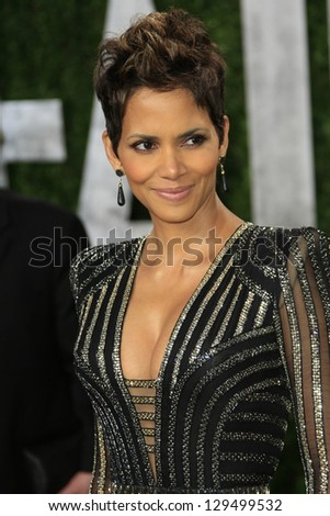 WEST HOLLYWOOD, CA - FEB 24: Halle Berry at the Vanity Fair Oscar Party at Sunset Tower on February 24, 2013 in West Hollywood, California - stock photo