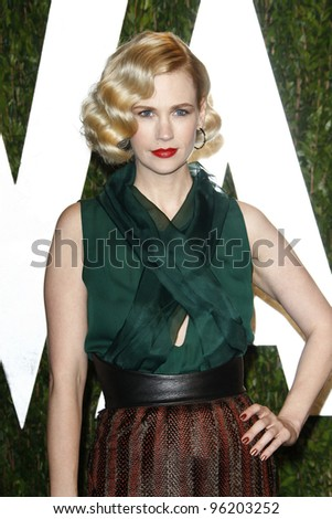 WEST HOLLYWOOD, CA - FEB 26: January Jones at the Vanity Fair Oscar Party at Sunset Tower on February 26, 2012 in West Hollywood, California. - stock photo