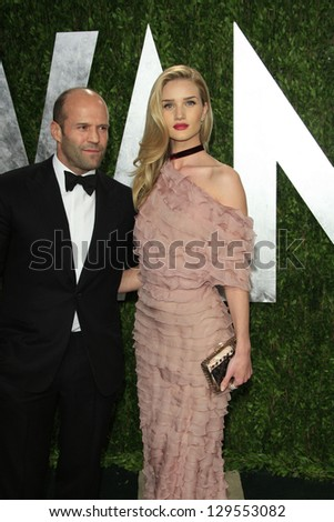 WEST HOLLYWOOD, CA - FEB 24: Jason Statham, Rosie Huntington-Whiteley at the Vanity Fair Oscar Party at Sunset Tower on February 24, 2013 in West Hollywood, California - stock photo