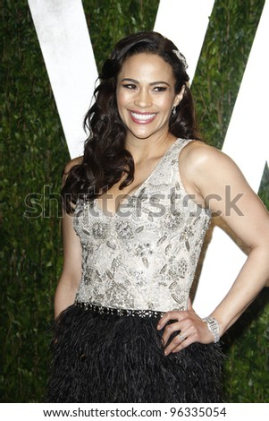 WEST HOLLYWOOD, CA - FEB 26: Paula Patton at the Vanity Fair Oscar Party at Sunset Tower on February 26, 2012 in West Hollywood, California.