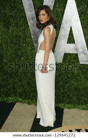 WEST HOLLYWOOD, CA - FEB 24: Rose Byrne at the Vanity Fair Oscar Party at Sunset Tower on February 24, 2013 in West Hollywood, California