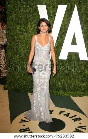 WEST HOLLYWOOD, CA - FEB 26: Selena Gomez at the Vanity Fair Oscar Party at Sunset Tower on February 26, 2012 in West Hollywood, California. - stock photo