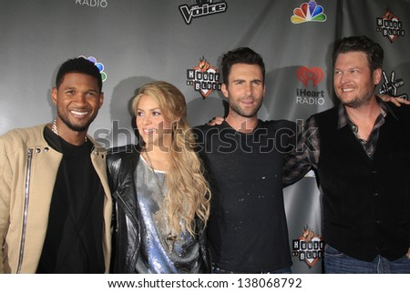 WEST HOLLYWOOD, CA - MAY 8:  Usher; Shakira; Adam Levine; Blake Shelton at the NBC's 'The Voice' Season 4 Red Carpet Event at the House of Blues on May 8, 2013 in West Hollywood, California - stock photo