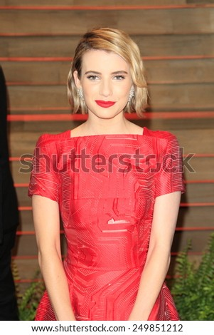 WEST HOLLYWOOD - MAR 2:: Emma Roberts at the 2014 Vanity Fair Oscar Party on March 2, 2014 in West Hollywood, California - stock photo