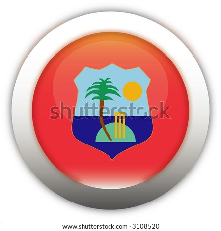 West Indies Cricket Board Flag Aqua Button