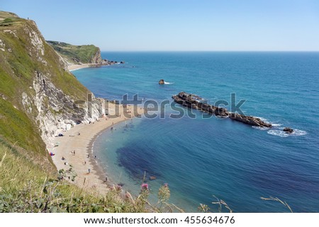 West Lulworth/UK. 20th July 2016. Beach goers are on Durdle Door beach on a warm July day.
