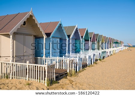 WEST MERSEA, ESSEX/UK - JULY 24  : Beach huts at West Mersea on July 24, 2012. Unidentified people.