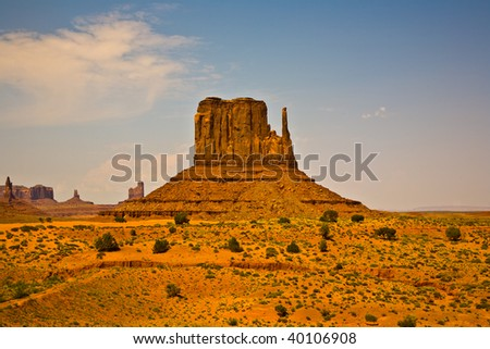 WEst Mittens Butte is a giant sandstone formation in the Monument valley