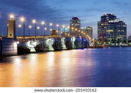 West Palm Beach at Night, Florida, United States - stock photo