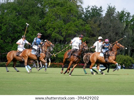 WEST PALM BEACH, FLORIDA - March 26, 2016: Saturday match between Goose Creek and Airstream at the Isla Carroll field at the beautiful International Polo Club of Palm Beach in Wellington, Florida - stock photo