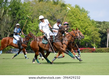 WEST PALM BEACH, FLORIDA - March 26, 2016: Saturday match between Goose Creek and Airstream at the Isla Carroll field at the beautiful International Polo Club of Palm Beach in Wellington, Florida