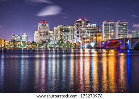 West Palm Beach, Florida nighttime skyline. - stock photo
