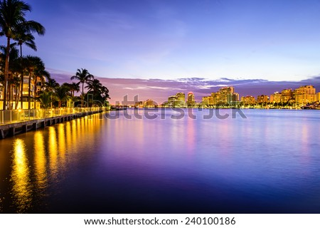 West Palm Beach Florida, USA cityscape on the Intracoastal Waterway. - stock photo