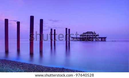 West Pier in Brighton at dawn, East Sussex, England