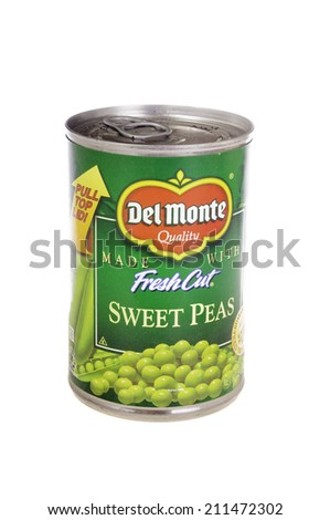 West Point - August 17, 2014: Can of Del Monte Fresh cut sweet peas - stock photo