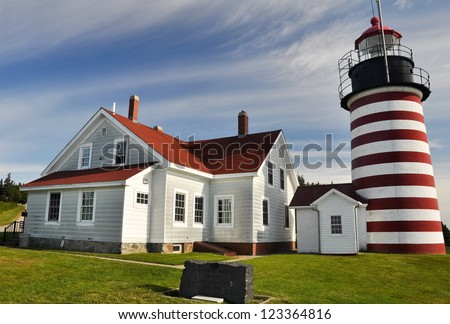 West Quoddy Head Lighthouse, Maine (USA) - stock photo