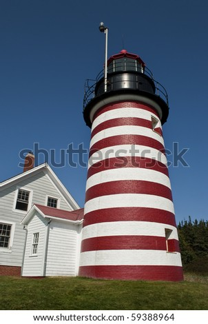 West Quoddy Lighthouse in Lubec, Maine - stock photo