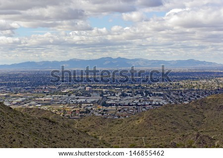 West side of Valley of the Sun �¢?? Glendale, Peoria and Phoenix; Arizona - stock photo