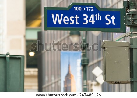 West 34th street sign in New York City. - stock photo