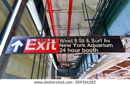 West 8th Street Subway Station in the Coney Island area of Brooklyn, New York. - stock photo
