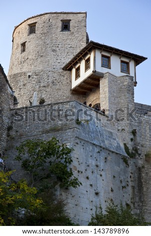 West tower near the Old Bridge in Mostar, Bosnia and Herzegovina