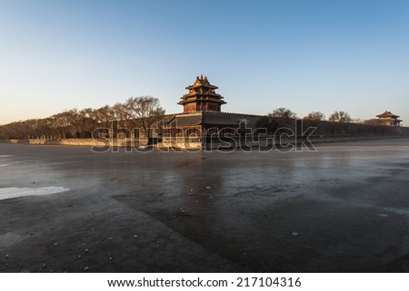 west tower of forbidden city in beijing, china - stock photo