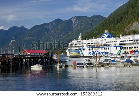WEST VANCOUVER, BC AUGUST 25:  BC Ferry, Coastal Renaissance,� departs Horseshoe Bay August 25, 2013.  It transports vehicles and up to 1600 people between Vancouver Island and the Mainland.