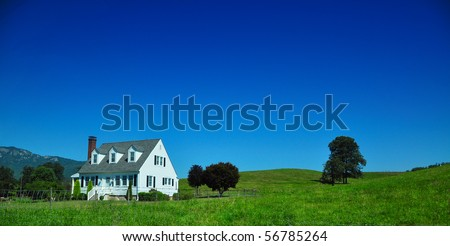 west Virginia country home on a blue sky - stock photo