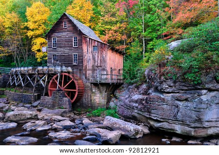 West Virginia Grist Mill creekside in gorgeous fall colors