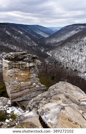 West Virginia Mountains in Winter - stock photo