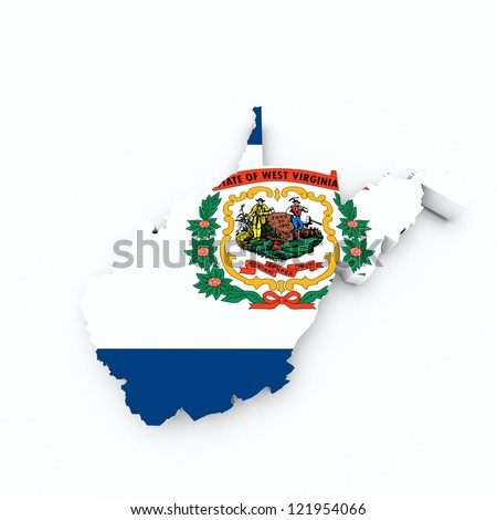 west virginia state flag on 3d map - stock photo