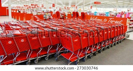 WEST WINDSOR, NJ -19 MARCH 2015- Editorial: Founded in 1902 in Minneapolis, Target is the second-largest discount retailer in the United States. Its logo is a red bullseye. - stock photo