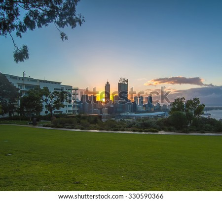 Western Australia - Sunrise View with Rays of Light  Perth Skyline from Kings Park - stock photo