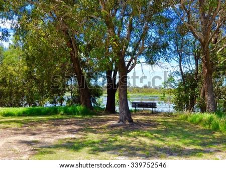 Western Australia Wetlands bench lookout in nature/Cockburn Wetlands Serene Lookout/Western Australia - stock photo