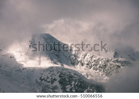 western carpathian mountain tops in winter covered in snow on a sunny day. slovakia - vintage film look