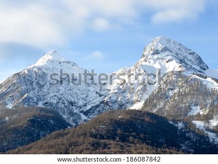 Western Caucasus. Warm winter in the mountains of Krasnaya Polyana, Sochi. Aibga ridge - stock photo