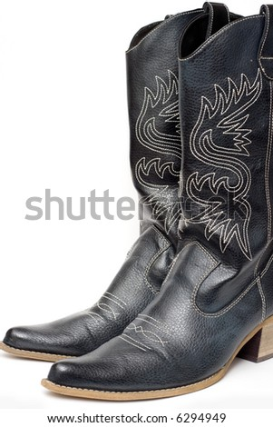 Western cowboy black boots on white background - stock photo