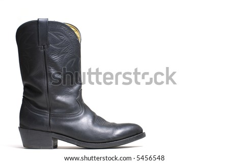 Western cowboy black boots on white background series  05