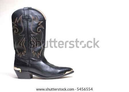 Western cowboy black boots on white background series 07 - stock photo