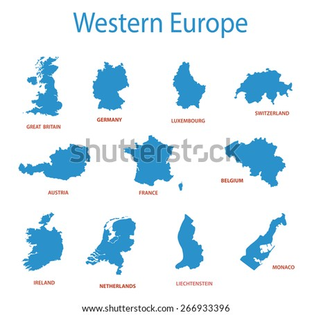 western europe - maps of territories - stock photo