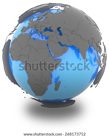 Western Hemisphere standing out of blue planet in grey, isolated on white background - stock photo