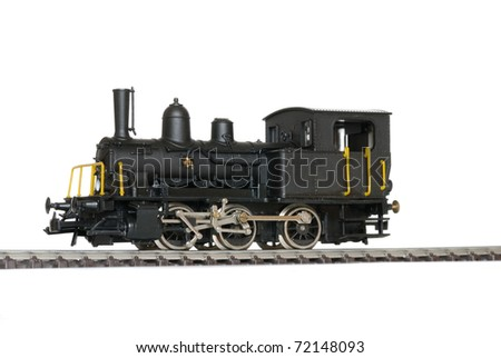 Western model railway over white background.