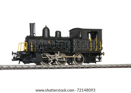 Western model railway over white background. - stock photo
