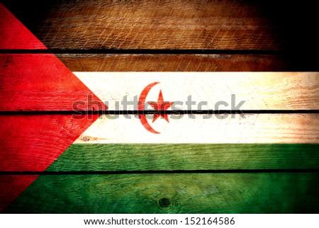 Western Sahara wooden flag - stock photo