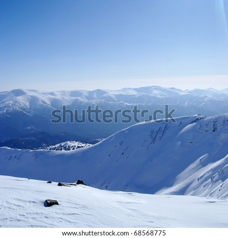 Western Sayan mountains. Ergaky. Siberia. Russia in winter time. - stock photo
